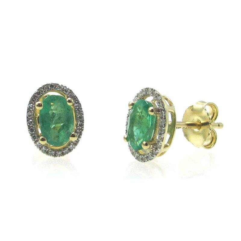 Murphy Pitard Signature Collection Emerald & Diamond Halo Stud Earrings