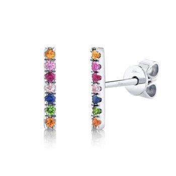 Multi-Color Gemstone Stud Earrings