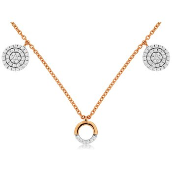 Diamond Fashion Circle & Disc Station Necklace