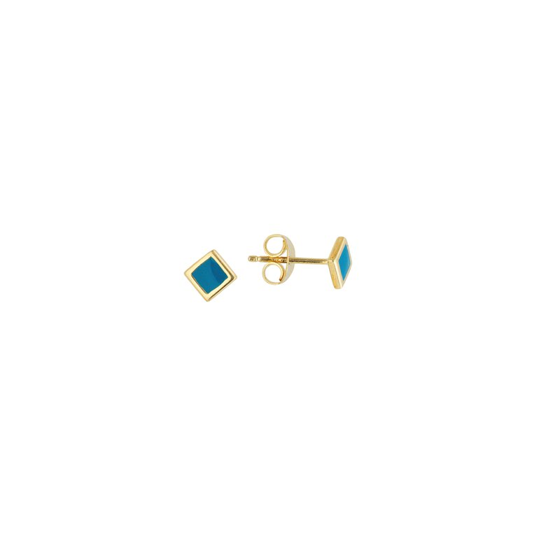 Murphy Pitard Signature Collection Blue Enameled Stud Earrings