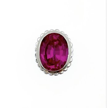 Faceted Oval Sapphire Pink Bezel