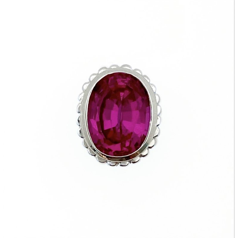 Goldman-Kolber Faceted Oval Sapphire Pink Bezel