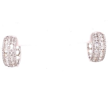 Multi-Row Diamond Huggie Hoop Earrings