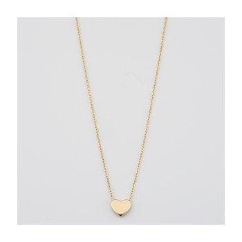 Gold Polished Mini Heart Necklace