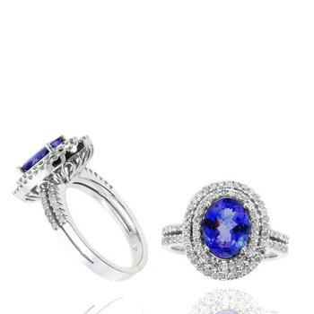 Oval Tanzanite & Diamond Double Halo Ring