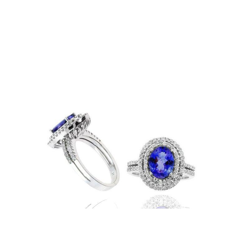 Murphy Pitard Signature Collection Oval Tanzanite & Diamond Double Halo Ring
