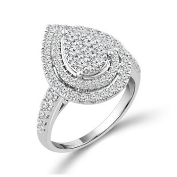 Diamond 1.0 Carats Double Pear Halo Engagement Ring