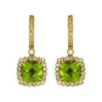 Peridot & Diamond Halo Fashion Earrings