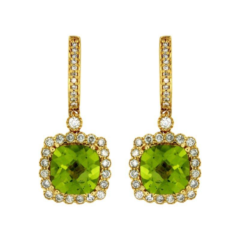 Murphy Pitard Signature Collection Peridot & Diamond Halo Fashion Earrings