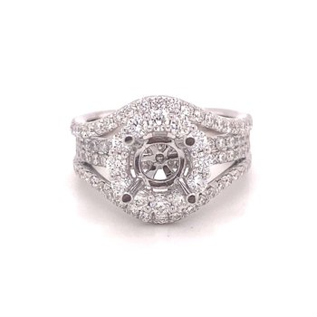 Round Diamond Halo Multi-Row Split Band Engagement Ring