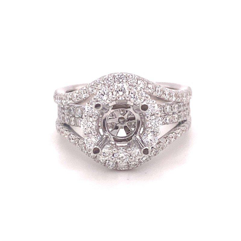 Murphy Pitard Signature Collection Round Diamond Halo Multi-Row Split Band Engagement Ring