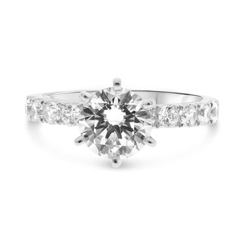 Diamond Side Stone Accented Engagement Ring