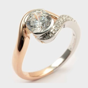 Diamond Round Bypass Engagement Ring