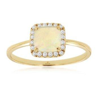 Opal & Diamond Halo Fashion Ring