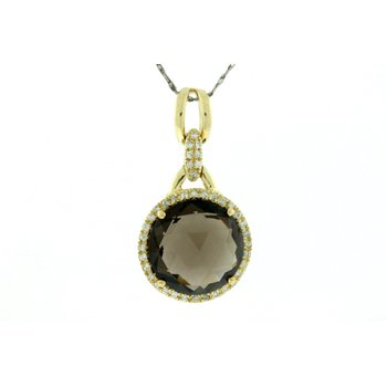 Diamond Halo Smoky Quartz Pendant Necklace