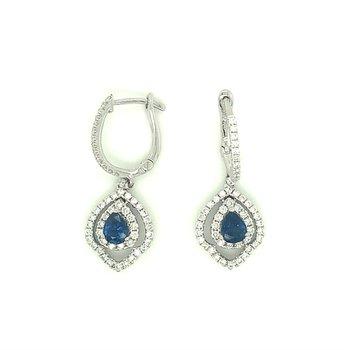 Pear Blue Sapphire & Diamond Halo Dangle Earrings