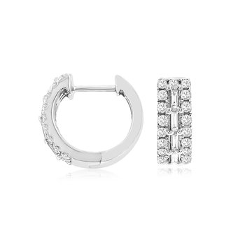 Round & Baguette Diamond Huggie Earrings