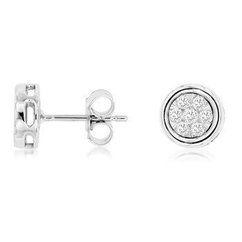 Pavé Diamond 1/3 Carats Bezel Stud Earrings