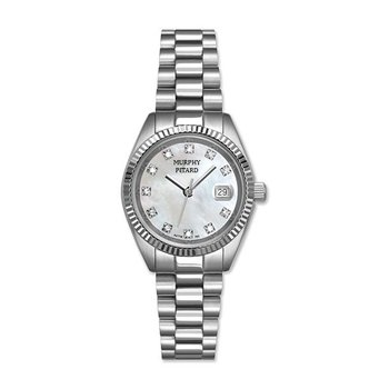Classic Murphy Pitard Stainless Steel Diamond Dial Watch