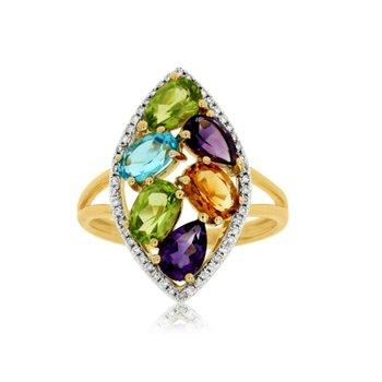 Multi Color Gemstone Fashion Halo Ring