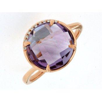 Diamond Accented Amethyst Fashion Ring