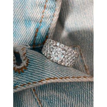Pavée Diamond Multi Row Ring For Square Center