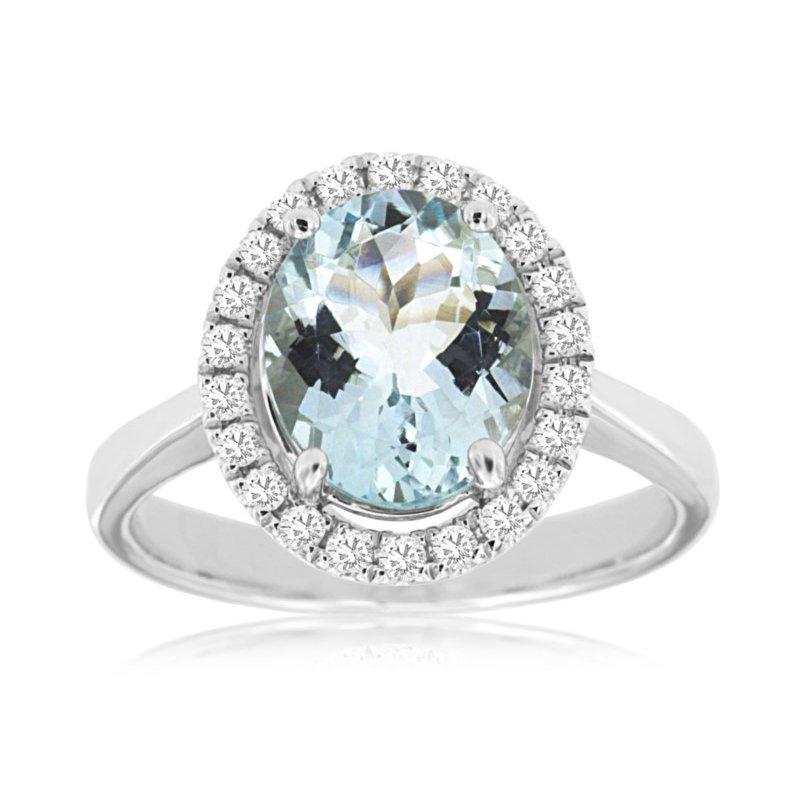 Murphy Pitard Signature Collection Blue Topaz Diamond Halo Ring