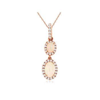 Opal & Diamond Halo Drop Pendant Necklace