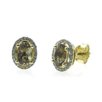 Smokey Quartz & Diamond Halo Stud Earrings