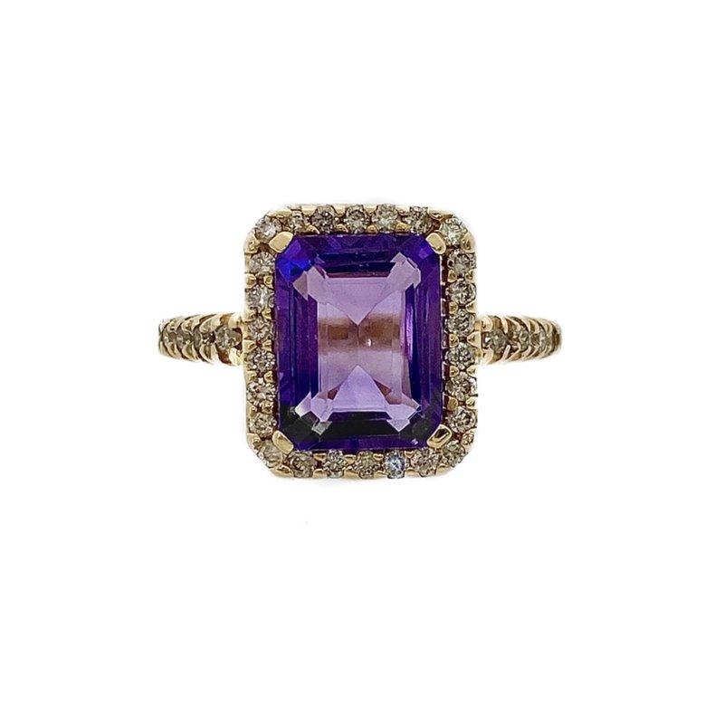 Murphy Pitard Signature Collection Amethyst and Diamond Halo Ring