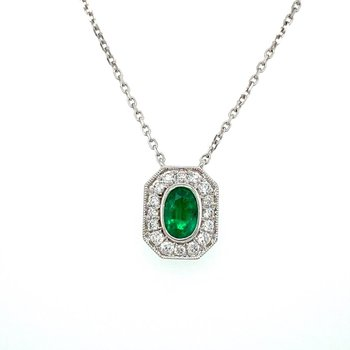 Vintage Inspired Oval Emerald & Diamond Necklace
