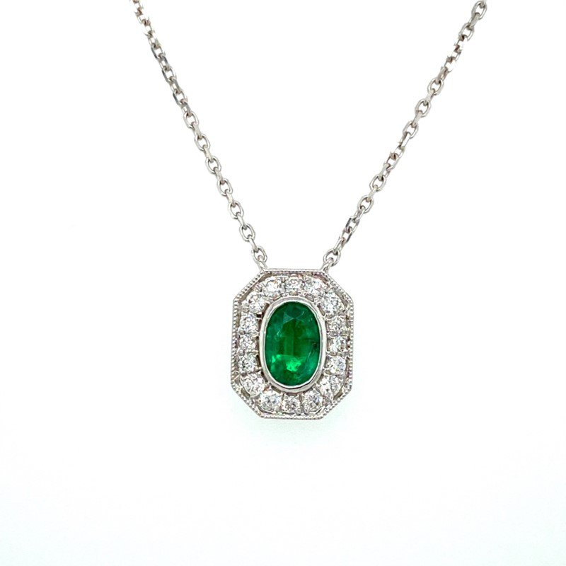 Murphy Pitard Signature Collection Vintage Inspired Oval Emerald & Diamond Necklace