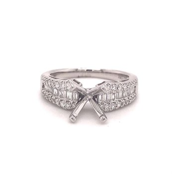 Round Diamond Engagement Ring With Round & Baguette Accents