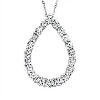 Diamond 1/4 Carats Tear Drop Pendant Necklace