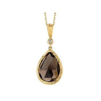 Diamond Accented Smoky Quartz Pendant Necklace