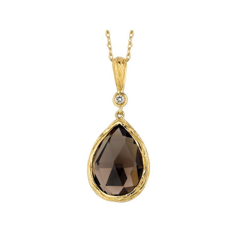 Murphy Pitard Signature Collection Diamond Accented Smoky Quartz Pendant Necklace
