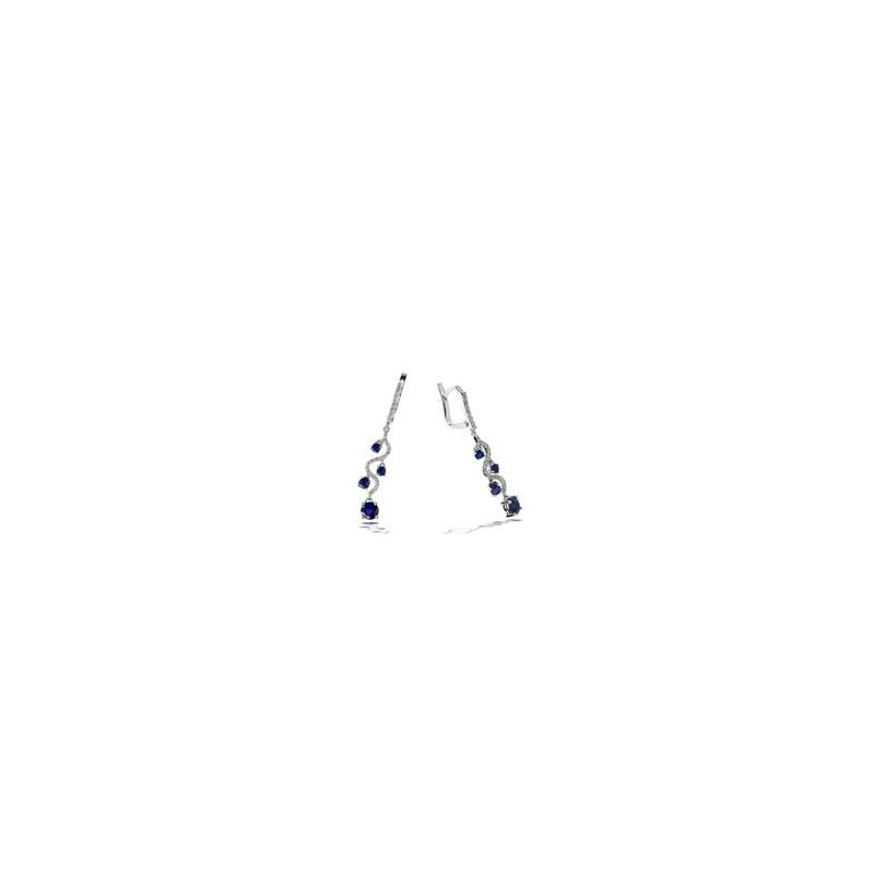 Murphy Pitard Signature Collection Diamond and Blue Sapphire Dangle Earrings