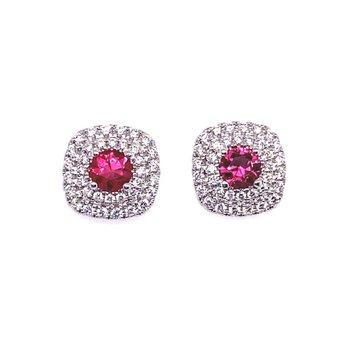 Ruby & Diamond Double Halo Stud Earrings