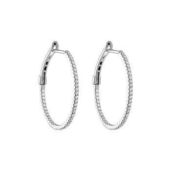 Diamond 1/2 Carats Medium Hoop Earrings