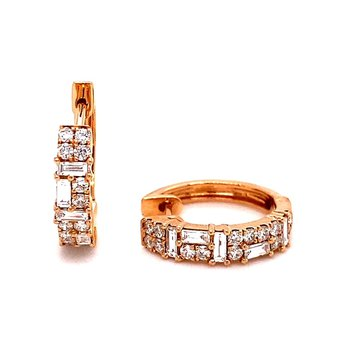 Rose Gold Round and Baguette Diamond Hoop Earrings