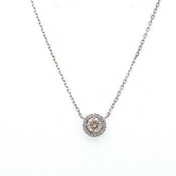 Diamond 1/2 CaratHalo Pendant Necklace