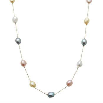Pastel Pearl Station Necklace