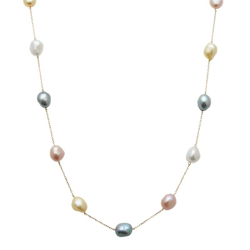 Murphy Pitard Signature Collection Pastel Pearl Station Necklace