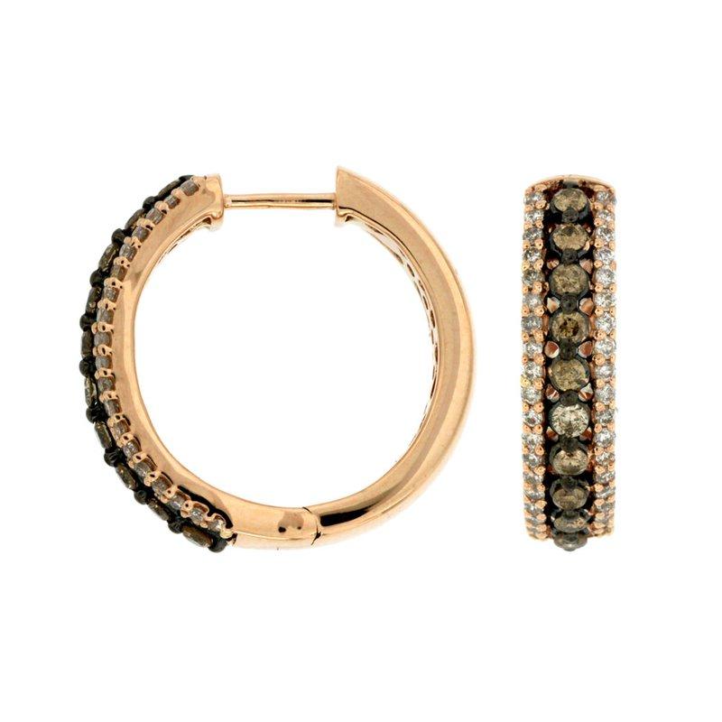 Murphy Pitard Signature Collection Diamond & Mocha Diamond Hinged Medium Hoop Earrings