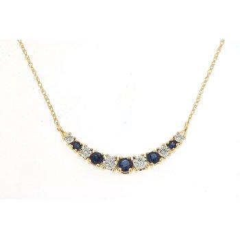 Diamond & Sapphire Curve Bar Necklace