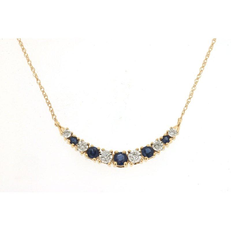 Murphy Pitard Signature Collection Diamond & Sapphire Curve Bar Necklace
