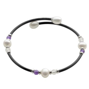 Freshwater Pearl & Gemstone Bangle Bracelet
