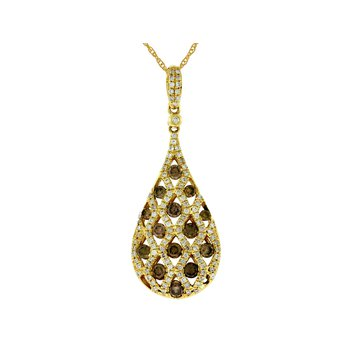 Diamond & Mocha Diamond Drop Pendant Necklace