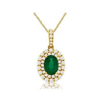 Diamond & Emerald Halo Pendant Necklace