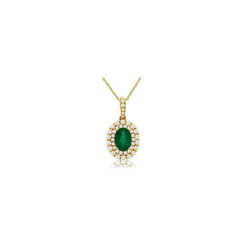 Murphy Pitard Signature Collection Diamond & Emerald Halo Pendant Necklace